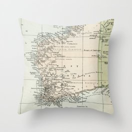 Vintage Map of the West Of Australia Throw Pillow
