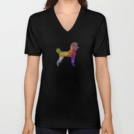 Poodle 01 in watercolor Unisex V-Neck