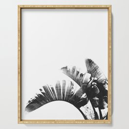 Palm leaves black and white tropical watercolor Serving Tray