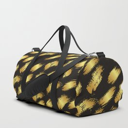 Black faux gold modern abstract paint brushstrokes Duffle Bag