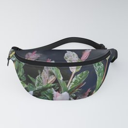 GREEN AND PINK VARIEGATED SHRUB WITH DARK SKY Fanny Pack