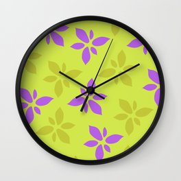 Illustration of flowers(yellow background) Wall Clock