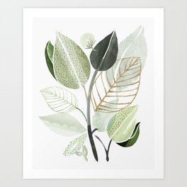 Forest Bouquet - Green Leaves Watercolor Art Print
