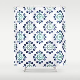 Mint and Navy Repeating Tile Digital Design Shower Curtain