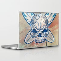 surfboard Laptop & iPad Skins featuring skull on surfboard background by Doomko