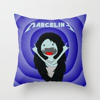 marceline Throw Pillows featuring Metal Marceline by totemxtotem
