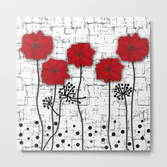 Poppies red n white background . Metal Print