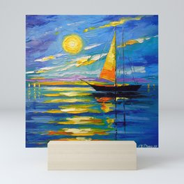 Sailboat at sunset Mini Art Print