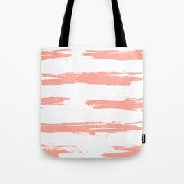 Pretty Pink Brush Stripes Horizontal Tote Bag