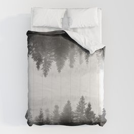 Black and white foggy mirrored forest Comforters