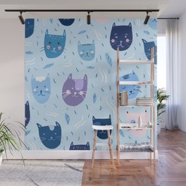Little blue cats Wall Mural