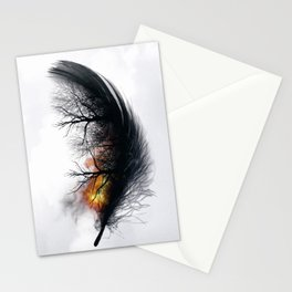 Fire Feather • Black Feather (vertical) Stationery Cards