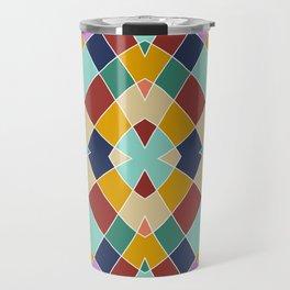 Retro Colored Church Window Pattern Travel Mug