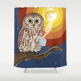 Coffee Owl Shower Curtain