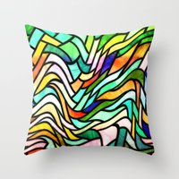 stained glass Throw Pillows featuring Stained glass by haroulita