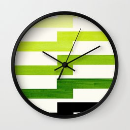 Minimalist Mid Century Modern Sap Green Watercolor Painting Lightning Bolt Zig Zag Pattern With Blac Wall Clock