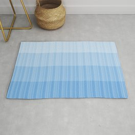 Four Shades of Light Blue with Stripes Rug
