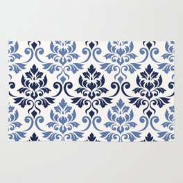Feuille Damask Pattern Blues on Cream Rug
