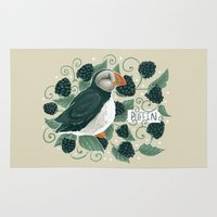 puffin Area & Throw Rugs featuring Blackberry Puffin by Kelsey King Illustration