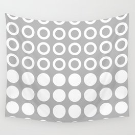 Mid Century Modern Circles And Dots Grey Wall Tapestry