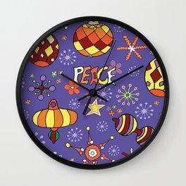 '70s peaceful retro Christmas pattern Wall Clock