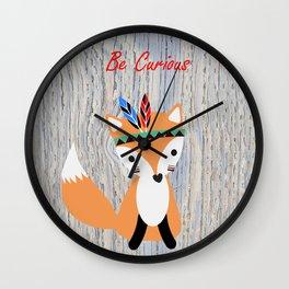 Little Tribal Fox Wall Clock