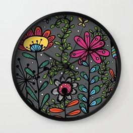 Weird and wonderful (Garden) - fun floral design, nature, flowers Wall Clock