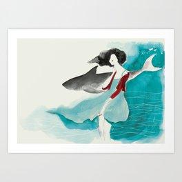 Girl and a shark love Art Print
