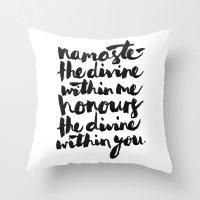 namaste Throw Pillows featuring Namaste  by Alisha Brunton