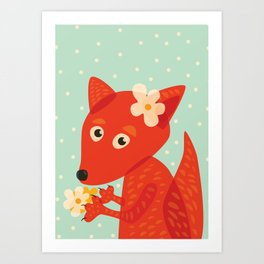 Cute Fox And Flowers Art Print