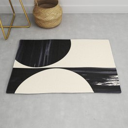 Black Textured Abstract Art on Cream Rug