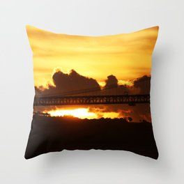 Dramatic sunset with bridge Throw Pillow