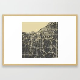 Cleveland map yellow Framed Art Print