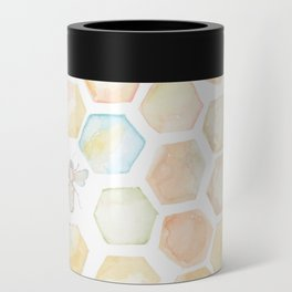 Bee and honeycomb watercolor Can Cooler