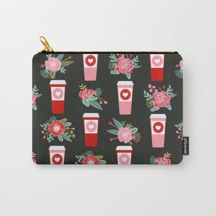 Coffee florals modern valentines day gifts for coffee lovers floral botanical bouquet Carry-All Pouch