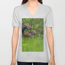 Moose and calf by Teresa Thompson Unisex V-Neck