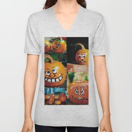 Pumpkin Faces Unisex V-Neck