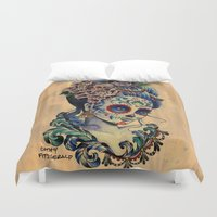 fitzgerald Duvet Covers featuring Marie de los Muertos by Cathy FitzGerald