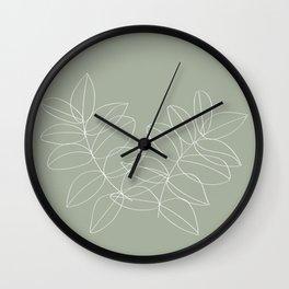 Boho Sage Green, Decor, Line Art, Botanical Leaves Wall Clock