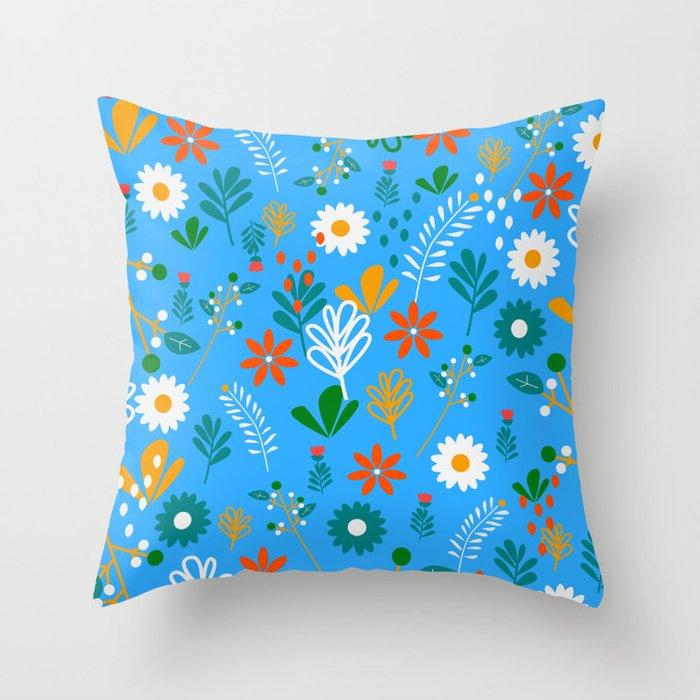 Blue field of joy Throw Pillow