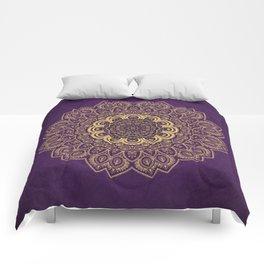 Golden Flower Mandala on Textured Purple Background Comforters