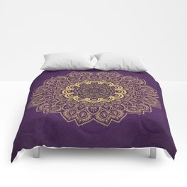 Golden Flower Mandala on Textured Purple Background Comforters
