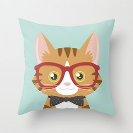 Orange Tabby Hipster Cat Throw Pillow
