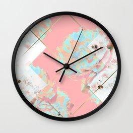 Abstract Blush Geometric Peonies Flowers Design Wall Clock