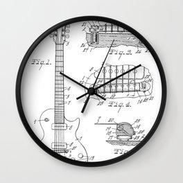 Gibson Guitar Patent - Les Paul Guitar Art - Black And White Wall Clock