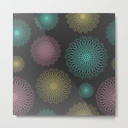 Lace mandala circles pastel colors on dark background Metal Print