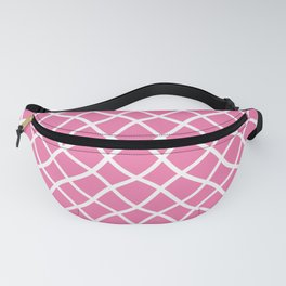 Candy pink and white curved grid pattern Fanny Pack