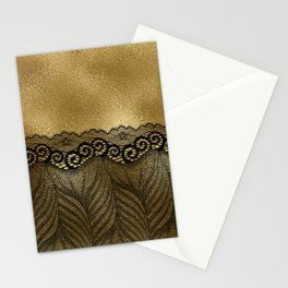 Black floral luxury lace on gold effect metal background Stationery Cards