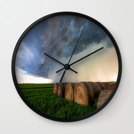 Time to Bale - Storm Over Rows of Round Hay Bales in Kansas Wall Clock