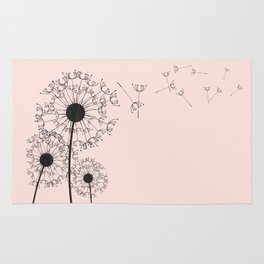 Contemporary Pink Dandelion Drawing Rug